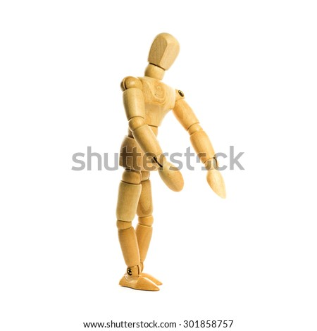 standing and action wooden man figure  isolated on white background