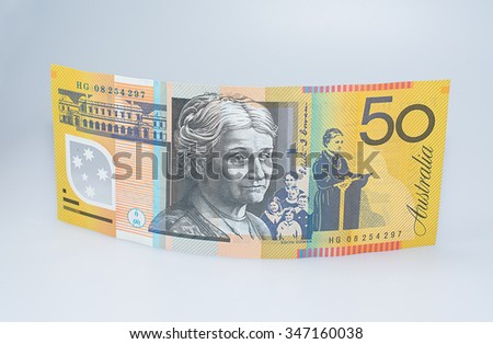 Standing Australian Fifty Dollar Banknote Edith Cowan Side Up - stock photo