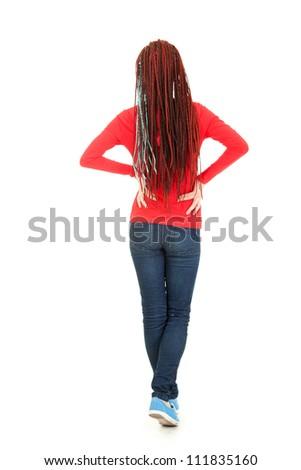 standing back teenage girl, full length, white background - stock photo