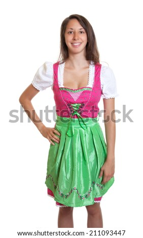 Standing bavarian woman with brown hair is ready for the Oktoberfest