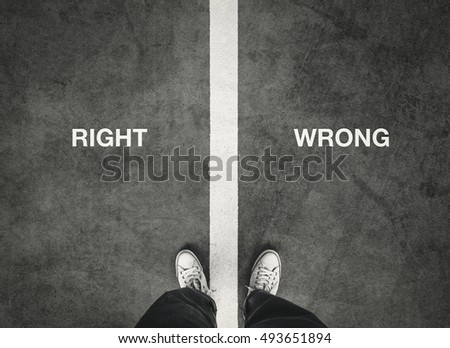 standing between right and wrong