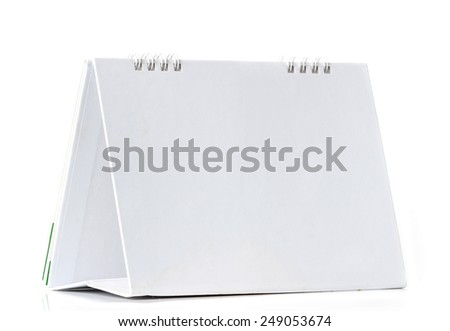 standing blank calendar isolated on white background - stock photo