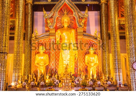 Standing Buddha  at Wat Chedi Luang Temple, Thailand.