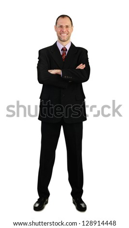 Standing business man in suit isolated on white background