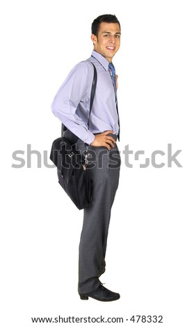 Standing business man with briefcase