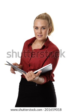 standing business woman working and checking or making note in a large note pad