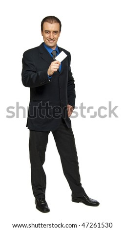 standing businessman and personal blank card in his hand
