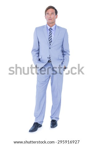 Standing businessman on white background