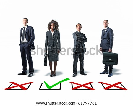 standing businesspeople and 3d check mark background - stock photo
