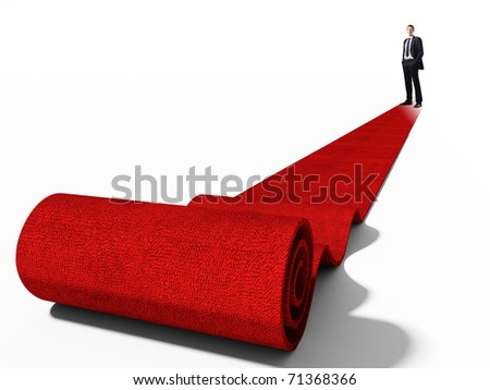 standing caucasian businessman on red carpet