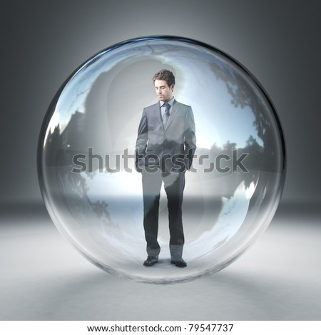 standing caucasian man in  3d glass sphere - stock photo