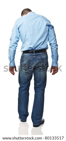 standing caucasian man rear view isolated on white