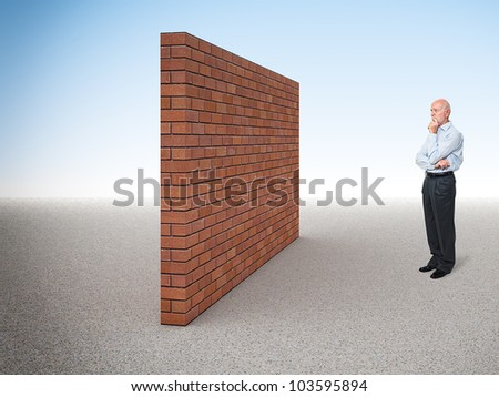 standing caucasian old man and 3d brick wall - stock photo