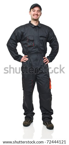 standing caucasian smiling worker isolated on white background
