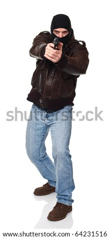 standing caucasian thief holding a gun isolated on white - stock photo