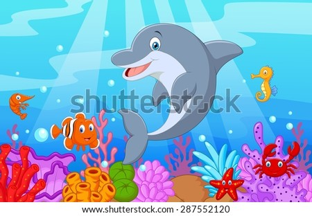 Standing Dolphin Illustration with collection fish - stock photo