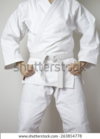 standing fighter white belt martial arts white suit - stock photo