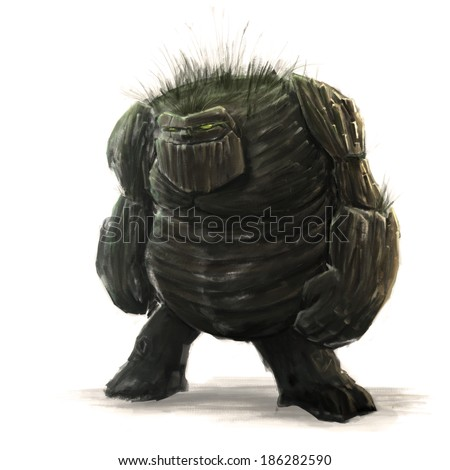 Standing forest golem concept art on white background - stock photo