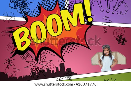 Standing girl with fake wings pretending to be pilot against the word boom - stock photo