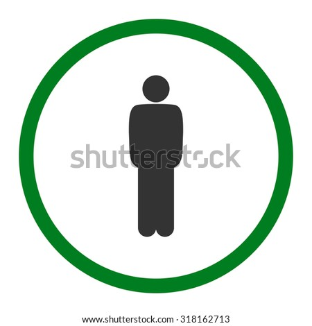 Standing glyph icon. This rounded flat symbol is drawn with green and gray colors on a white background.