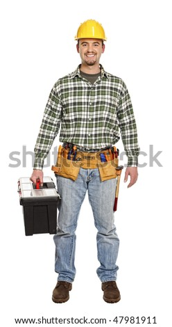 standing handyman with toolbox isolated on white