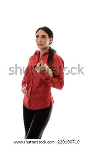standing helpless business woman shrugging her shoulders