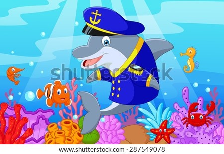 Standing little cartoon Dolphin using uniform Captain with collection fish - stock photo