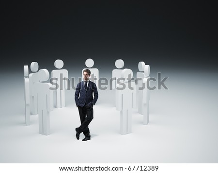 standing man and 3d people background