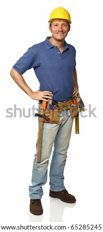 standing manual worker portrait on white background - stock photo