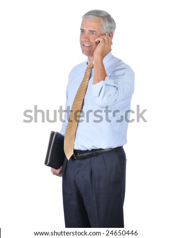 Standing Middle Aged Businessman Talking on Cell Phone isolated on white - stock photo