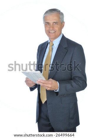 Standing Middle Aged  Businessman with Newspaper isolated on white