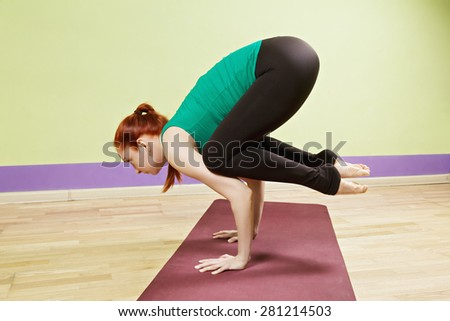 Standing on hands yoga position sideview