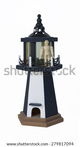 Standing on the parapet of a lighthouse - path included - stock photo