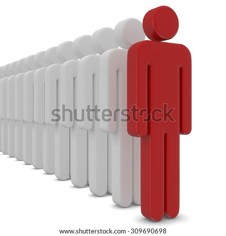 Standing Out From The Crowd  3d render - stock photo