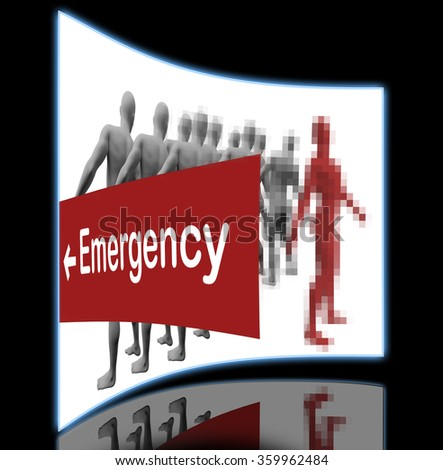 Standing Out From The Crowd with text emergency made in 3d software - stock photo