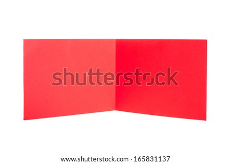 Standing red paper  on an isolated background