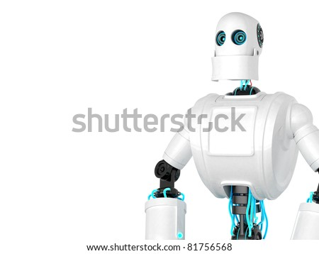 Standing Robot isolated over white background. Front view - stock photo