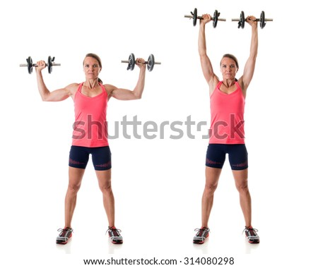 Standing shoulder press exercise. Studio shot over white. - stock photo