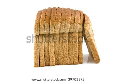 Standing slices bread isolated on white background
