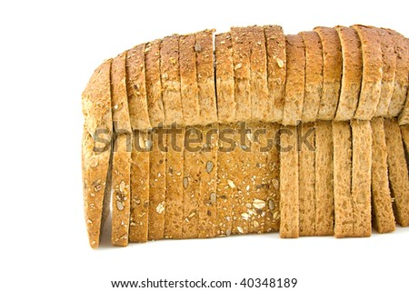 standing slices of bread over white background