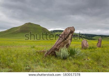 Standing stones. - stock photo