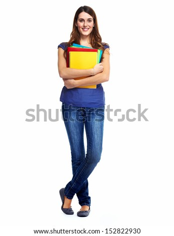 Standing student woman. Isolated on white background. - stock photo
