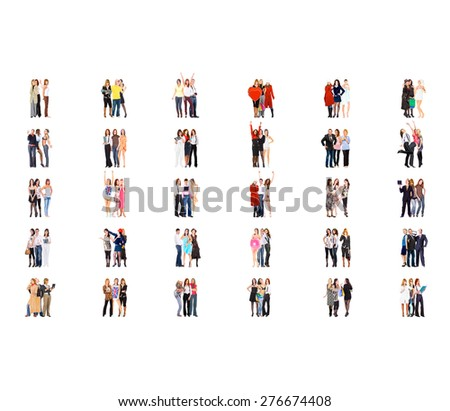 Standing Together Isolated Groups  - stock photo