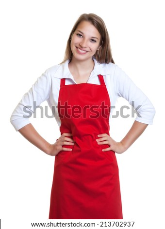Standing waitress with red apron and crossed arms