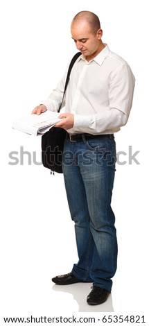 standing white man with bag and paper isolated