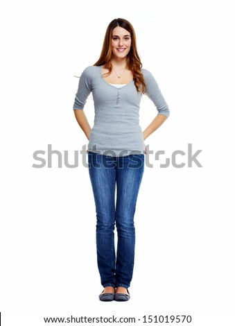 Standing woman. Isolated on white background. - stock photo