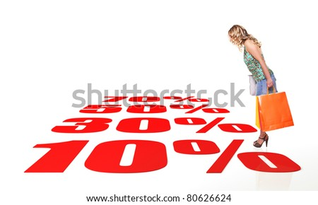 standing woman with shopping bag and 3d background - stock photo