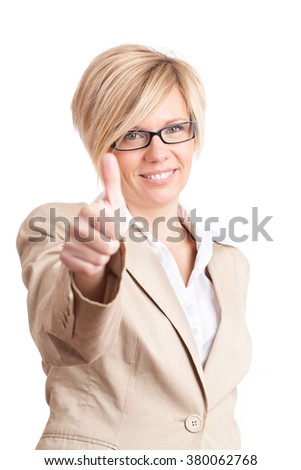 Standing woman with thumbs up