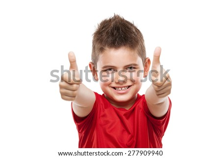 standing young cool boy doing thumbs-up isolated over white background - stock photo