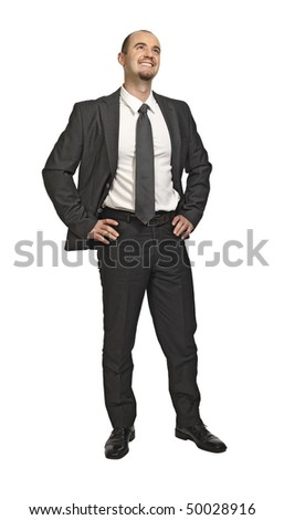 standing young successfull businessman isolated on white